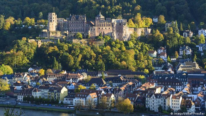 Aerial view of the cityscape of Heidelberg with its castle, Germany