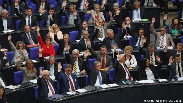 German parliamentarians voting.