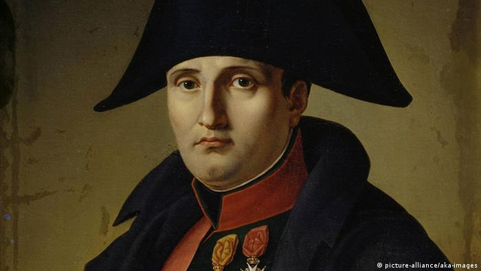 Napoleon wearing his famous two-pointed hat.