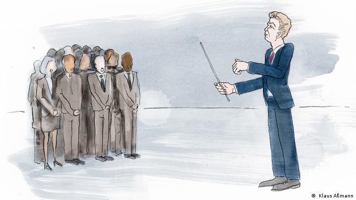 El presidente dirige a un grupo de personas. (Ilustratción: Klaus Aßmann)