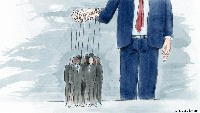 Der Präsident hält mehrere Menschen als Marionetten fest (Illustration: Klaus Aßmann)