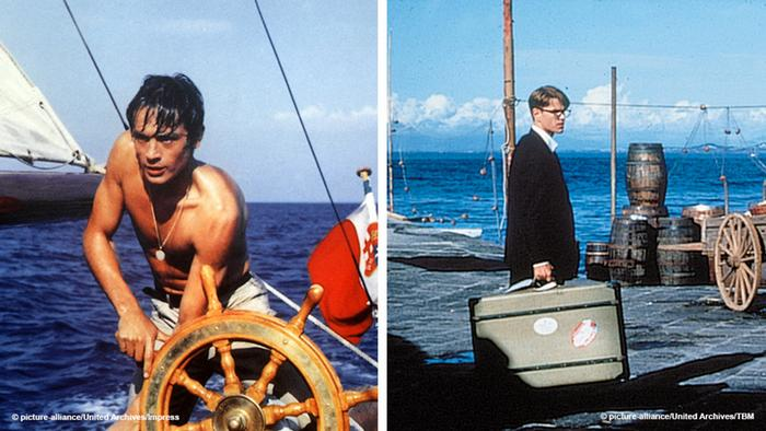 Two film stills, versions of The Talented Mr. Ripley: Alain Delon on a sailboat and Matt Damon with a suitcase at a harbor