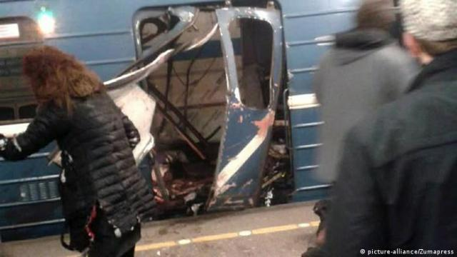 Exploded subway train in St. Petersburg
