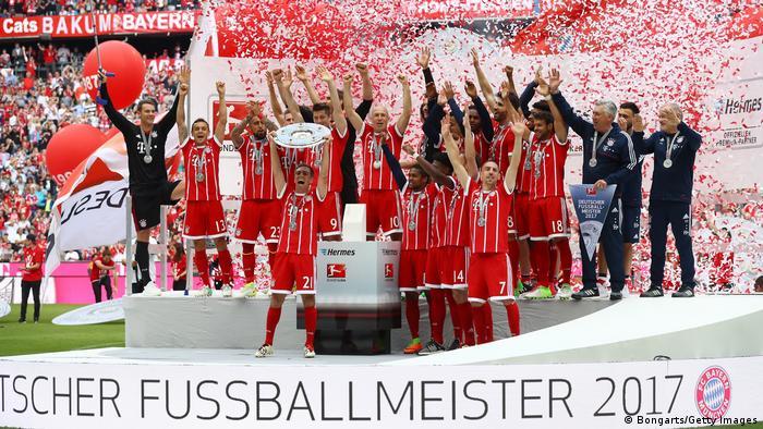 Bayern celebrate winning 2017 Bundesliga title