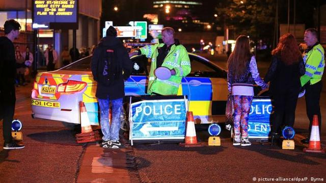 Police cars at the scene of the terrorist attack in Manchester