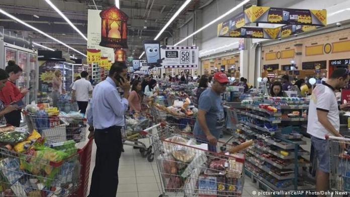 A picture of shoppers in a Doha store, after the Gulf boycott was announced.
