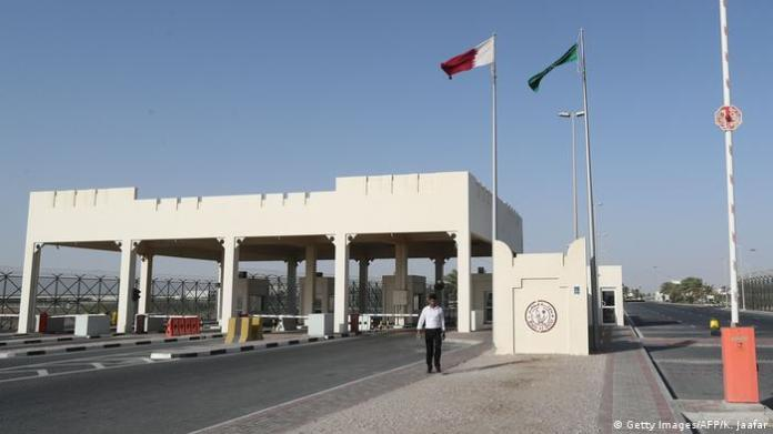 A picture from the Qatari side of the Abu Samra border crossing with Saudi Arabia