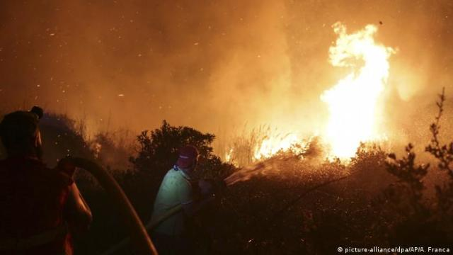 Firefighters fighting wildfires in Portugal