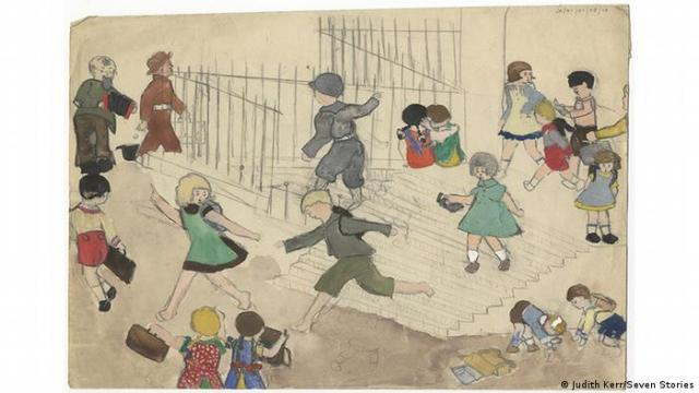 A colored drawing made by Judith Kerr in childhood shows children running around (Judith Kerr/Seven Stories)