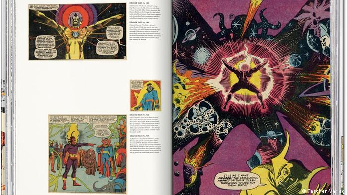 Page from Das Marvel-Zeitalter der Comics 1961–1978 with Steve Ditkos drawing The End ... At Last!. (Taschen Verlag)