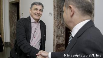 Ο Όλαφ Σολτς συναντά τον Ευκλείδη Τσακαλώτο το 2018 στο Βερολίνο