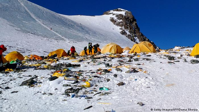 Garbage on Everest.