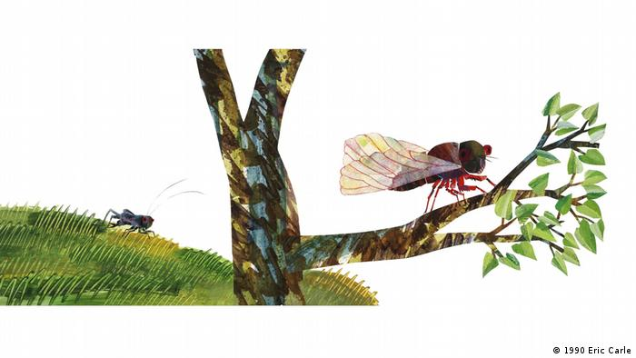 An illustration from The Very Quiet Cricket: a wasp on a branch and a cricket in the background in the grass (1990 Eric Carle)