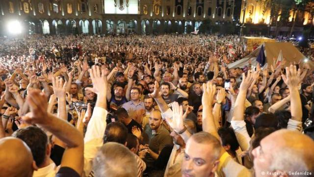 Thousands of protesters in front of the Georgian parliament building.