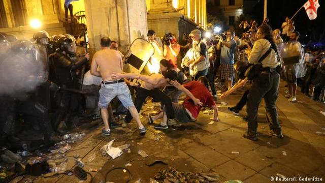 Clashes between demonstrators and police in Tbilisi, June 21