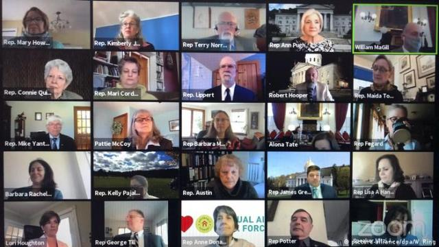 Members of the Vermont House of Representatives convene in a Zoom video conference for its first full parliamentary online session on Thursday, April 23, 2020