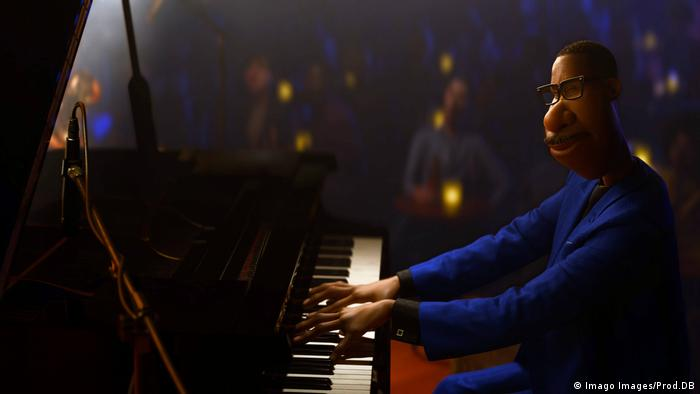 A movie still showing an animated African-American man playing the piano.