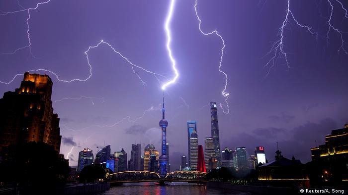 A lightning strike over the city of Shanghai