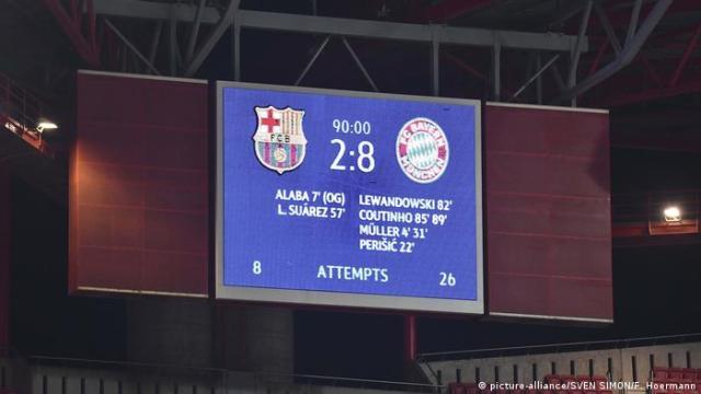 The scoreboard for Bayern's 8-2 win over Barcelona