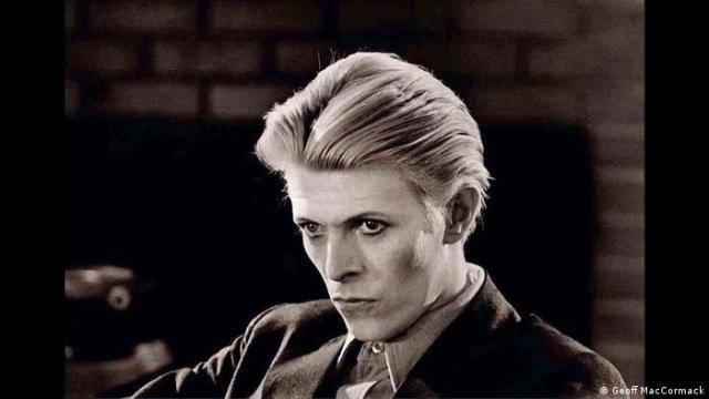 A black and white portrait of David Bowie from 1975 shot by Geoff MacCormack (Geoff MacCormack)