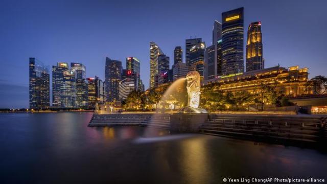 Singapur Merlion Park & Business district