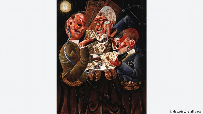 Image of the The Skat Players - Card Playing War Invalids, a painting by Otto Dix