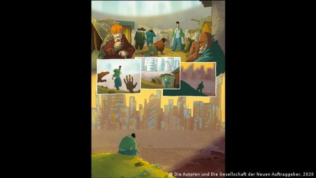Panels of the book depicting the difficult life at the refugee shelter