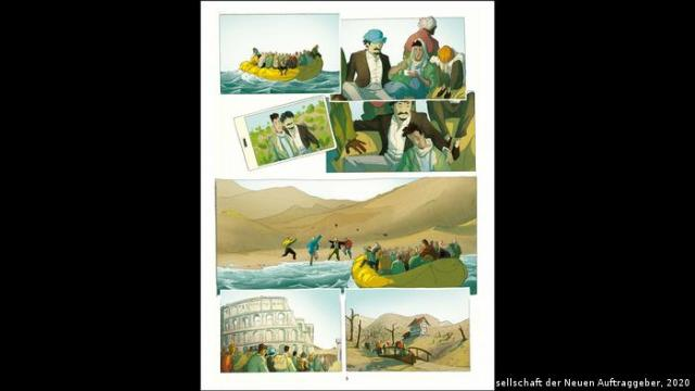 Illustrations of people crossing fences and seas and in Rome from Temple of Refuge