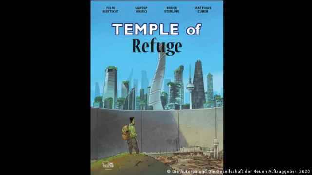 A man with a backpack is stands in front of a futuristic modern world behind a wall on the illustrated cover of Temple of Refuge