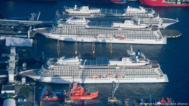Cruise ships docked in Sassnitz harbor on the German Baltic Sea coast