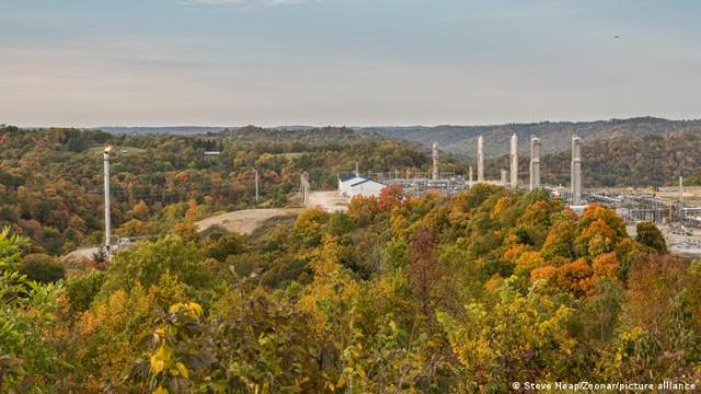 A natural gas fracking pad in West Virginia
