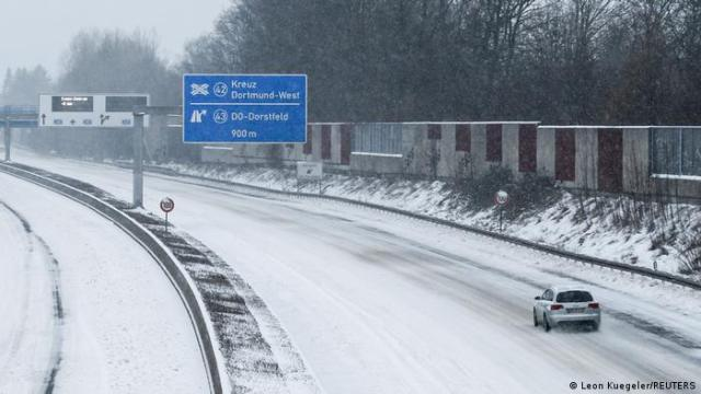 A motorway in Germany is covered by snow