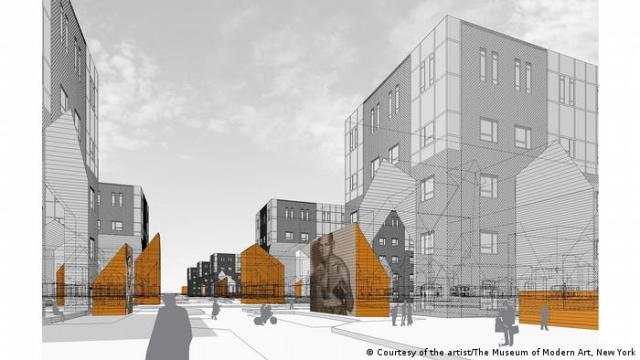 Reconstructions: Architecture and Blackness in America | Sekou Cooke artwork of urban planning designs of gray and orange.
