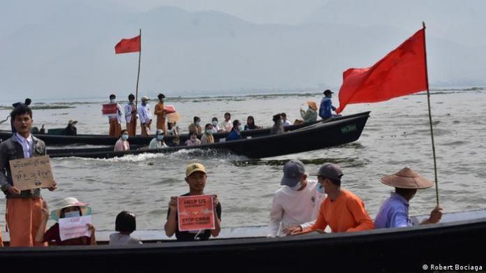 boat protest Myanmar