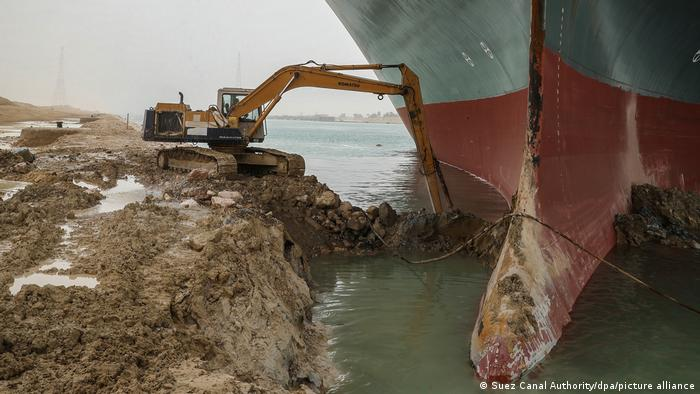 The container ship Ever Given lodged in the Suez Canal