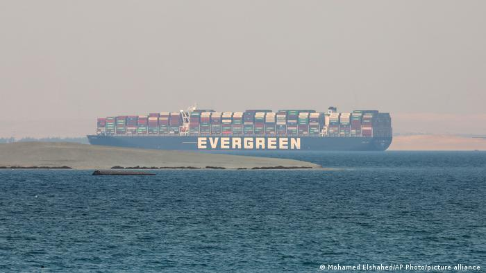 Ever Given, a Panama-flagged cargo ship, is seen in Egypt's Great Bitter Lake Tuesday, March 30, 2021