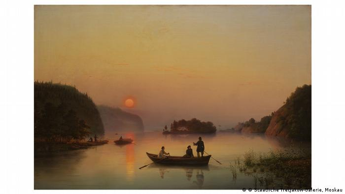 Painting of a lake with a boat at dusk by Anton Ivanov-Goluboy