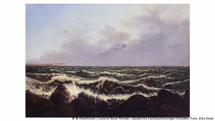 Painting of seascape, waves by Carl Gustav Carus