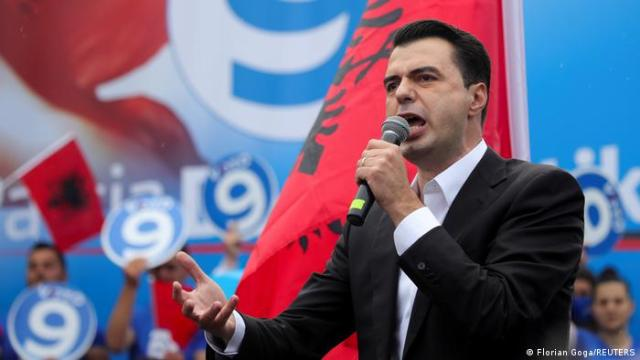 Albania's opposition Democratic Party leader Lulzim Basha speaks during an election rally.