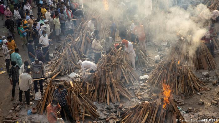Funeral piles to incinerate the deceased by COVID-19 in New Delhi, India.