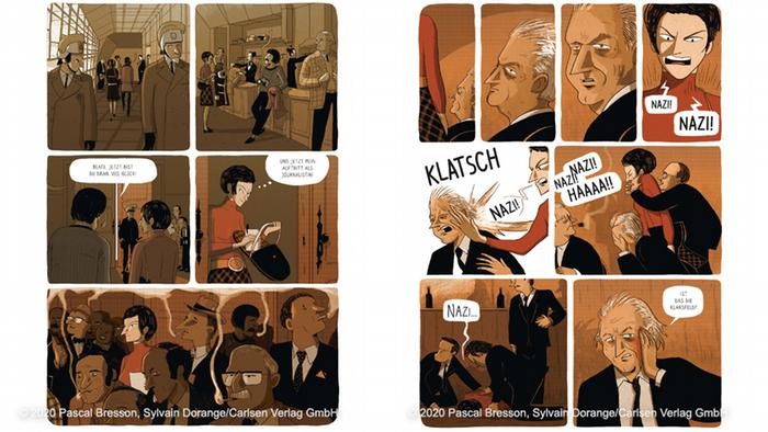 Scenes from the graphic novel depicting the moment of the slap.