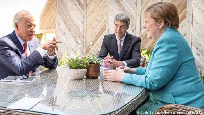 Joe Biden and Angela Merkel with Jan Hecker