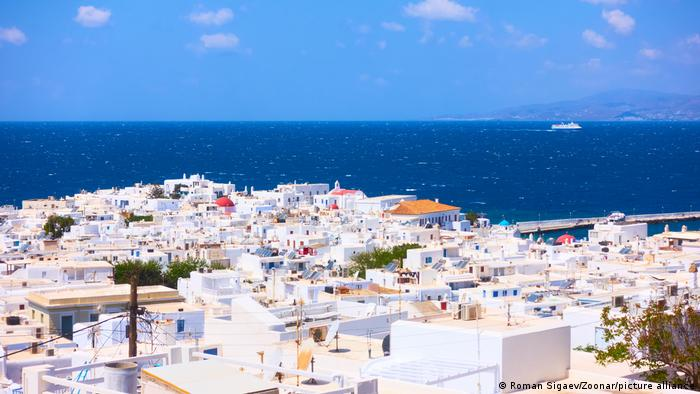 A panoramic view of Mykonos in Greece