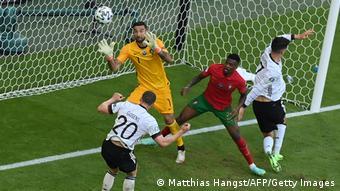 Robin Gosens heads home Germany's fourth goal against Portugal