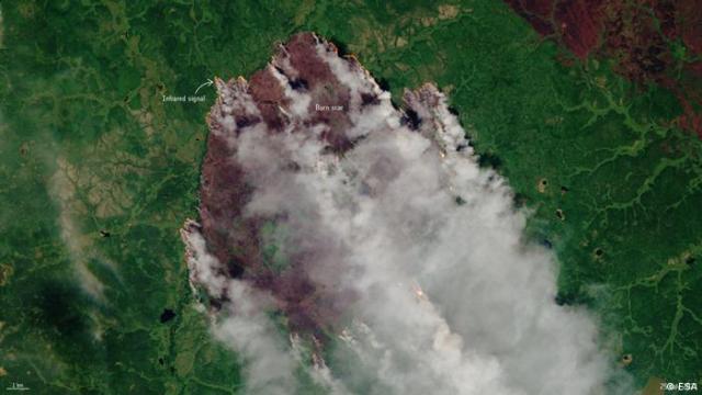Imagen satelital de los incendios en Yakuti tomada el pasado 25 de julio, cuando el fuego había calcinado ya 1,5 millones de hectáreas.