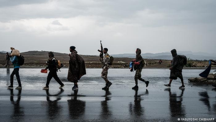 Soldiers of Tigray Defence Force (TDF) walk in a line in Mekele, Tigray region, Ethiopia, on June 30, 2021