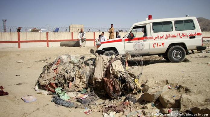 An ambulance near the explosion site at Kabul Airport