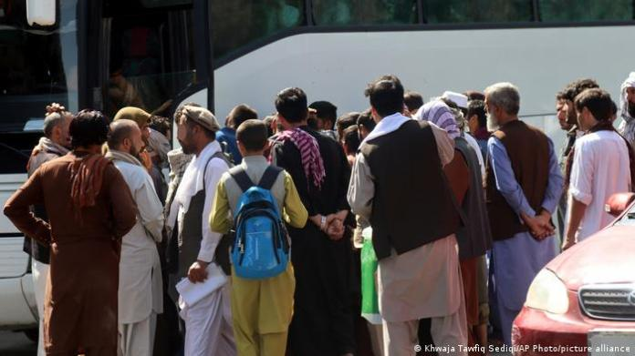People standing outside Kabul airport
