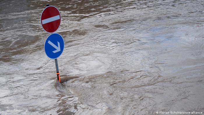 Brown flood waters in the town of Bernkastel-Kues.