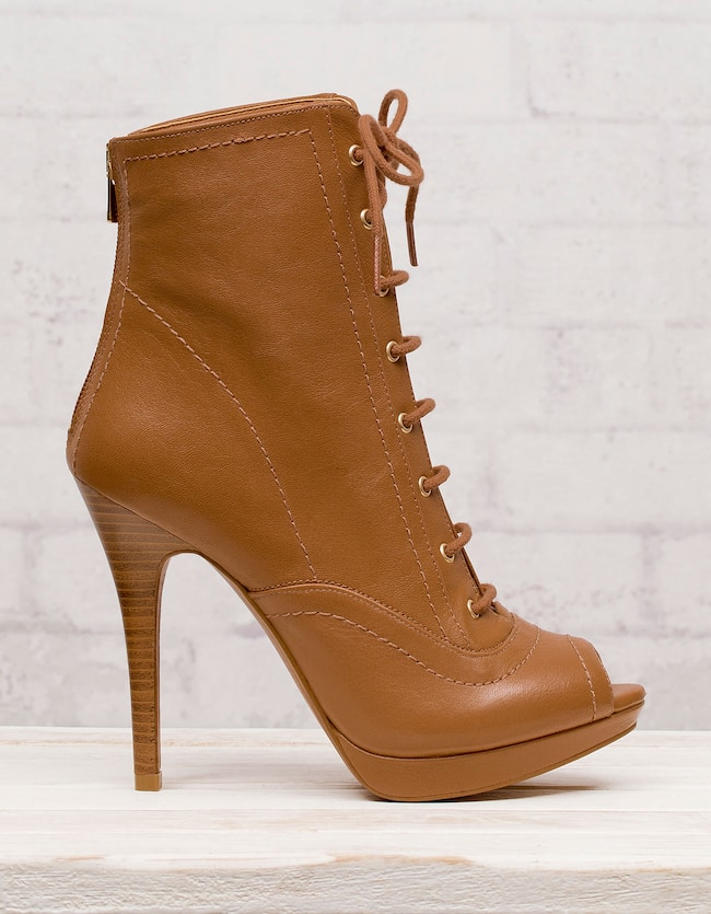 Peep toe lace up ankle boots
